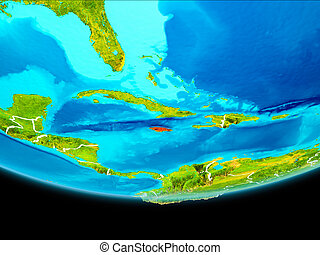 Satellite view of Jamaica - Jamaica from orbit of planet...