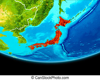 Satellite view of Japan - Japan from orbit of planet Earth...