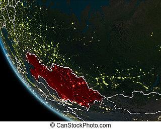 Satellite view of Kazakhstan at night - Satellite view of...