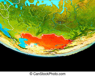 Satellite view of Kazakhstan - Kazakhstan from orbit of...