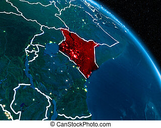 Satellite view of Kenya at night - Satellite view of Kenya...