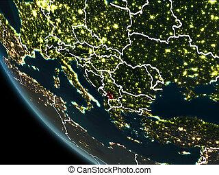 Satellite view of Kosovo at night - Satellite view of Kosovo...