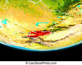 Satellite view of Kyrgyzstan - Kyrgyzstan from orbit of...