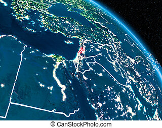 Satellite view of Lebanon at night - Satellite view of...