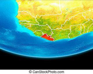 Satellite view of Liberia - Liberia from orbit of planet...