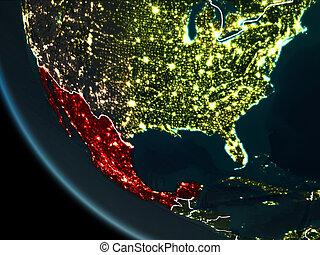 Satellite view of Mexico at night - Satellite view of Mexico...
