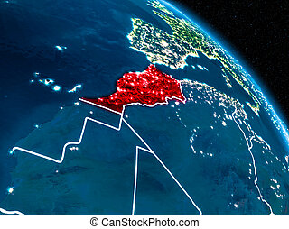 Satellite view of Morocco at night - Satellite view of...