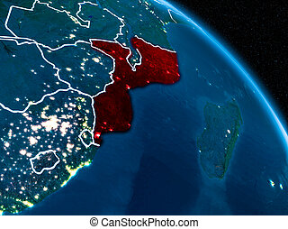Satellite view of Mozambique at night - Satellite view of...