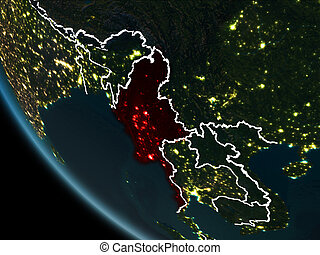 Satellite view of Myanmar at night - Satellite view of...