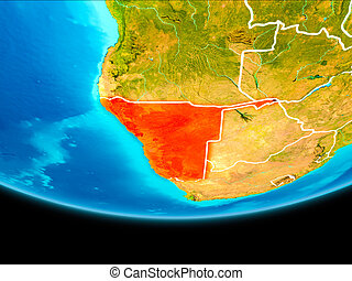 Satellite view of Namibia - Namibia from orbit of planet ...