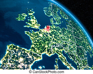 Satellite view of Netherlands at night - Satellite view of...