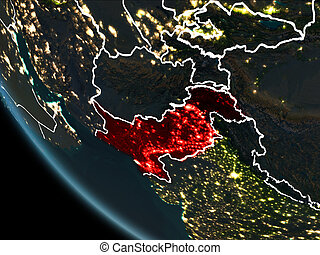 Satellite view of Pakistan at night - Satellite view of...