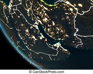 Satellite view of Qatar at night - Satellite view of Qatar...