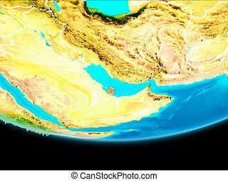 Satellite view of Qatar - Qatar from orbit of planet Earth...