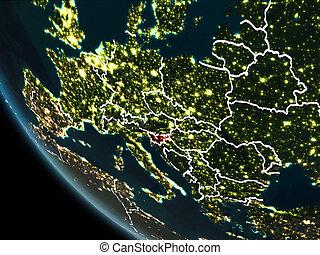 Satellite view of Slovenia at night - Satellite view of...