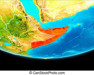 Satellite view of Somalia - Somalia from orbit of planet...