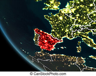 Satellite view of Spain at night - Satellite view of Spain...