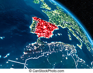 Satellite view of Spain at night - Satellite view of Spain...