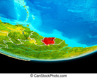 Satellite view of Suriname - Suriname from orbit of planet...