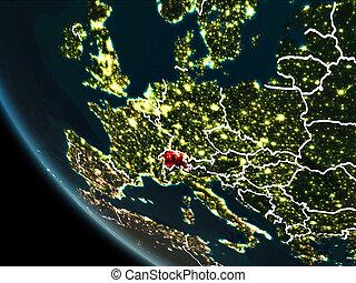Satellite view of Switzerland at night - Satellite view of...