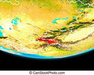 Satellite view of Tajikistan - Tajikistan from orbit of...