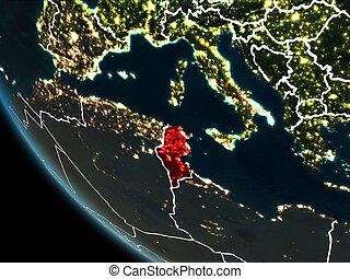 Satellite view of Tunisia at night - Satellite view of...