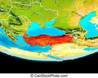 Satellite view of Turkey - Turkey from orbit of planet Earth...