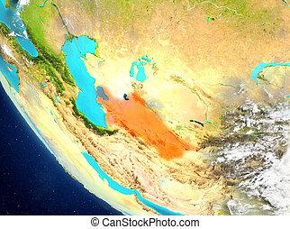 Satellite view of Turkmenistan in red