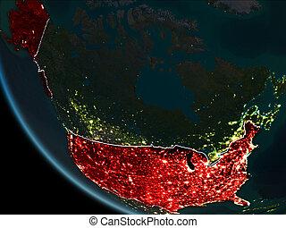Satellite view of USA at night - Satellite view of USA...