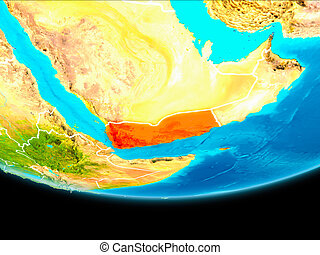 Satellite view of Yemen - Yemen from orbit of planet Earth...