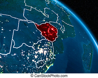 Satellite view of Zimbabwe at night - Satellite view of...