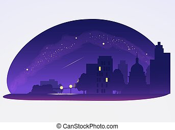 satellite, voler, ciel, illustration, vecteur, nuit