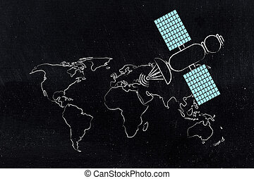 satellite with blue panels above map of the world