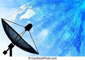 satellitenkommunikation, global, hintergrund, tellergericht...