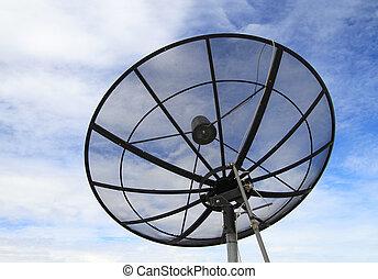 satellitenschüssel, mit, blauer himmel, hintergrund