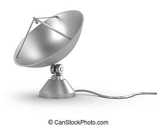 satellitenschüssel, mit, kabel, weiß