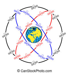 satelliter, original, utrymme, earth., omkring, orbits