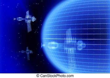 satellites, bleu, espace