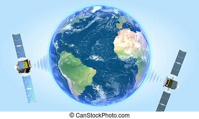 satellites, eart, tourner