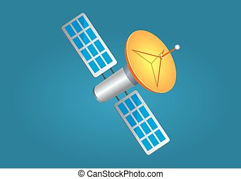 Satellites in Cartoon Style with Yellow Aerial - Satellites...