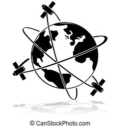 Icon illustration showing three satellites orbiting Earth