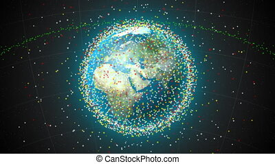 satellites, la terre, sur, boucle