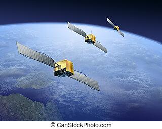 satellites, la terre, sur