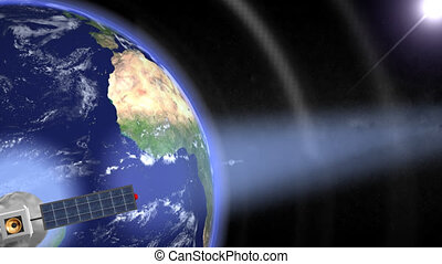 satellites, orbiting., loop., hd, cg.