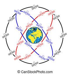 satelliti, eccentrico, spazio, earth., intorno, orbite