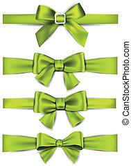 satijn, groene, cadeau, bows., ribbons.