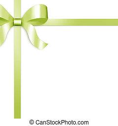 satijn, groene, lint, geschenk buiging
