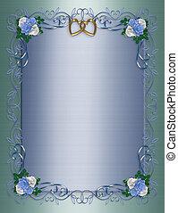 satijn, uitnodiging, blauwe , rozen, trouwfeest