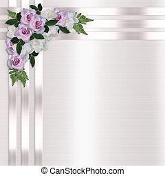 satijn, uitnodiging, rozen, linten, trouwfeest