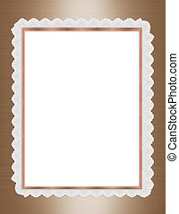 Satin and lace border frame - White lace and gold satin...